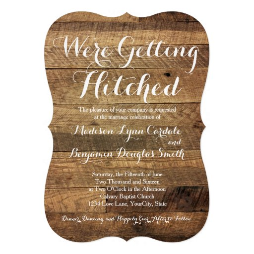 "Hitched Wedding Invitations: Getting Hitched Barn Wood Wedding Invitations 5"" X 7"