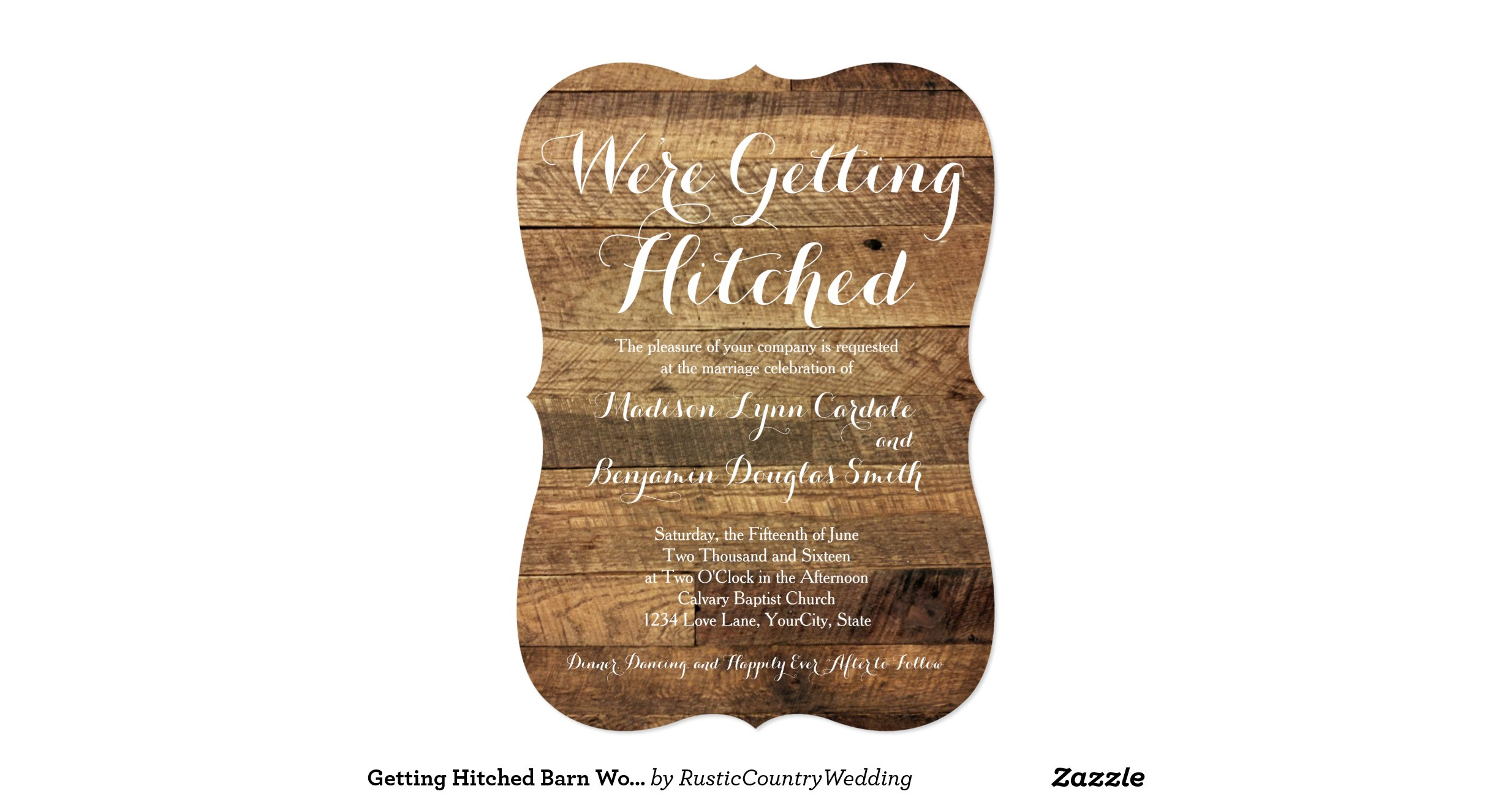 Hitched Wedding Invitations: Getting_hitched_barn_wood_wedding_invitations