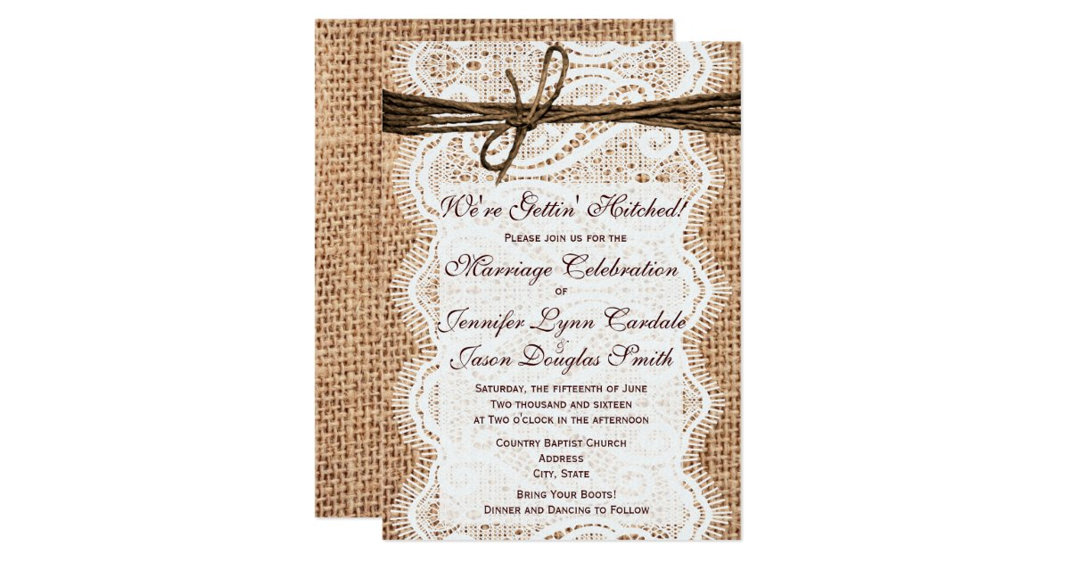 Hitched Wedding Invitations: Getting Hitched Burlap Print Wedding Invitations