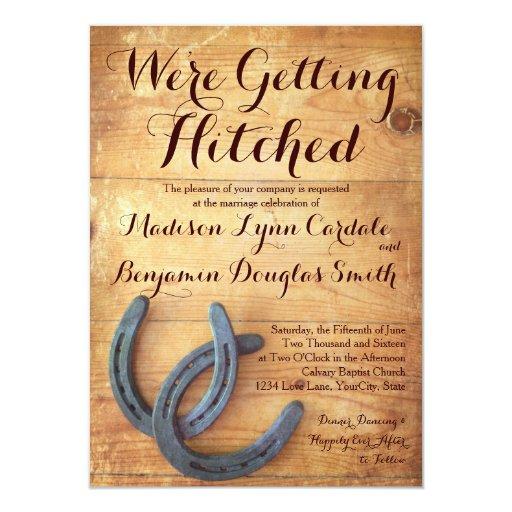 Hitched Wedding Invitations: Getting Hitched Double Horseshoe Wedding Invites