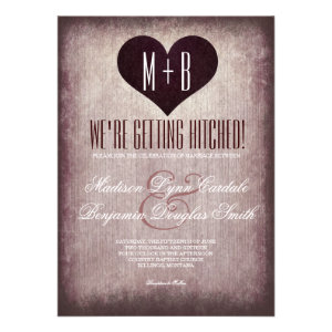 Getting Hitched Heart Rustic Wedding Invitations Personalized Invites