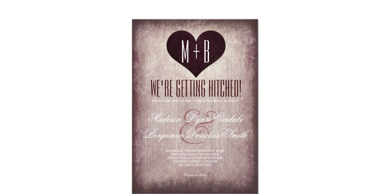 """Hitched Wedding Invitations: Getting Hitched Heart Rustic Wedding Invitations 4.5"""" X 6"""
