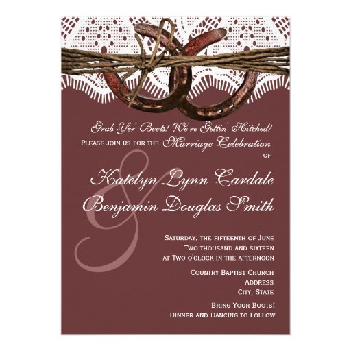 Hitched Wedding Invitations: Getting Hitched Horseshoe Wedding Invitations