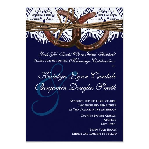 Hitched Wedding Invitations: Getting Hitched Navy Horseshoe Wedding Invitations