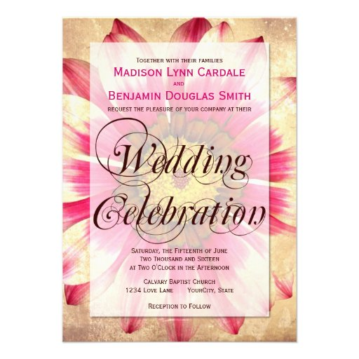 """Hitched Wedding Invitations: Getting Hitched Pink Daisy Wedding Invitations 4.5"""" X 6.25"""