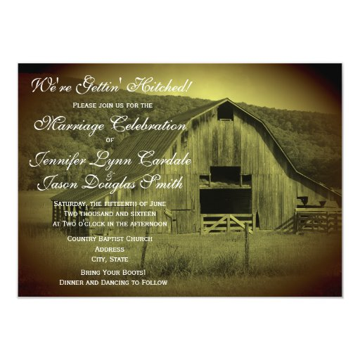 Hitched Wedding Invitations: Getting Hitched Rustic Barn Wedding Invitations