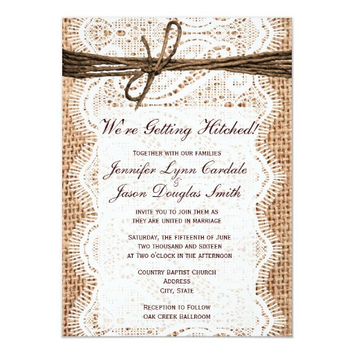 Hitched Wedding Invitations: Getting Hitched Rustic Country Wedding Invitations