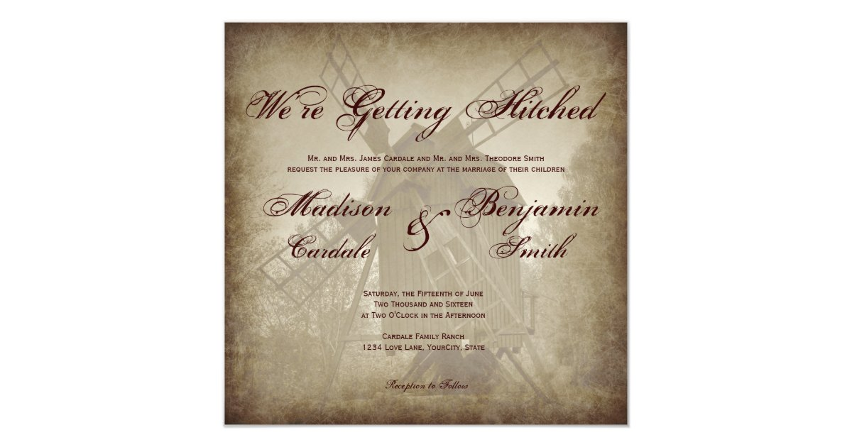 Hitched Wedding Invitations: Getting Hitched Rustic Windmill Wedding Invitation