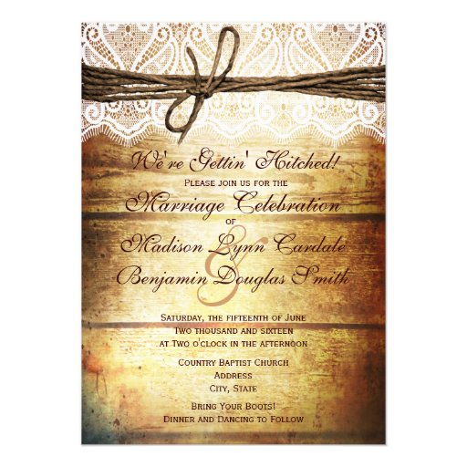 Hitched Wedding Invitations: Getting Hitched Rustic Wood Wedding Invitations Custom