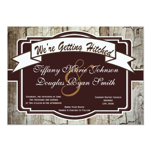 Hitched Wedding Invitations: Getting Hitched Rustic Wood Wedding Invitations