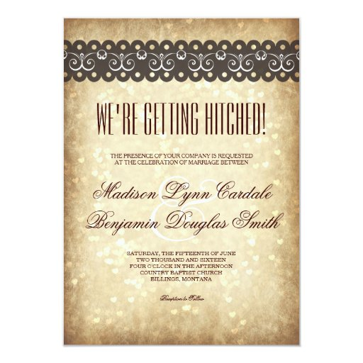 Hitched Wedding Invitations: Getting Hitched Vintage Sparkle Wedding Invitation