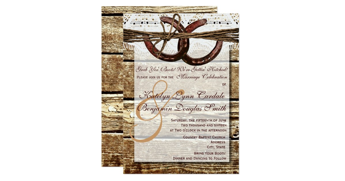 Hitched Wedding Invitations: Getting Hitched Wood Horseshoes Wedding Invites