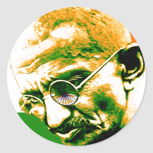 Ghandi In Orange Green And White With Flag Classic Round