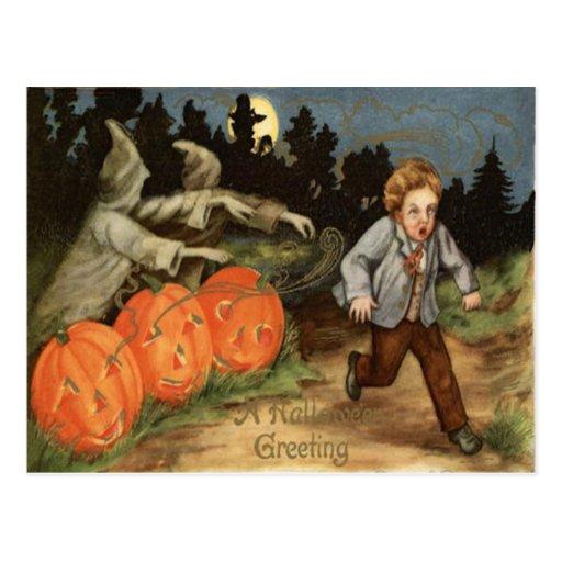 Ghost Jack O' Lantern Scared Boy Moon Postcard | Zazzle