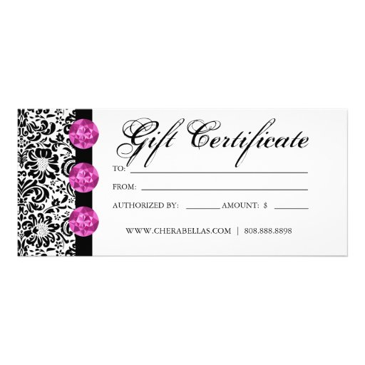 Gift certificates salon spa pink damask jewelry for Free printable hair salon gift certificate template