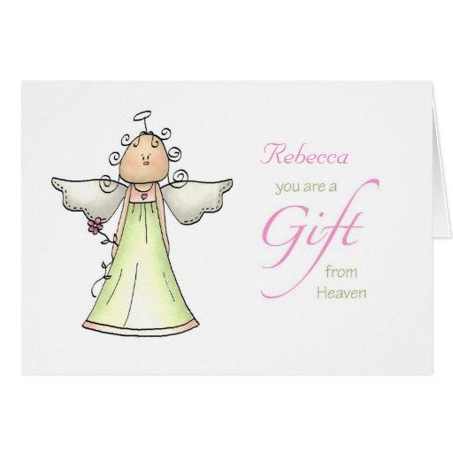 Gift From Heaven, Adoption Anniversary Custom Name Card