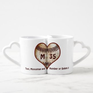 Gifts for Baseball Lovers Personalized Heart Mugs Couples' Coffee Mug Set