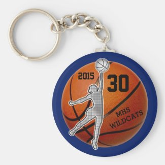 Gifts for Girls Basketball Team PERSONALIZED Basic Round Button Keychain