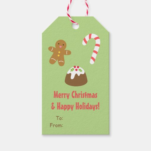 Gingerbread Man Candy Cane Christmas Gift Tags