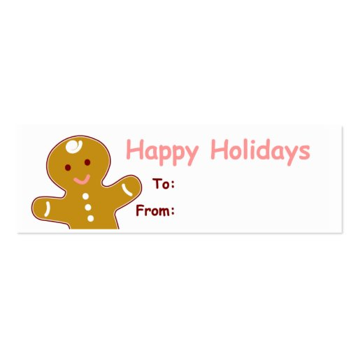 Gingerbread Man Gift Tags Double-Sided Mini Business Cards
