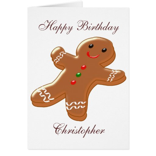 Gingerbread Man Just Add Name Birthday Card