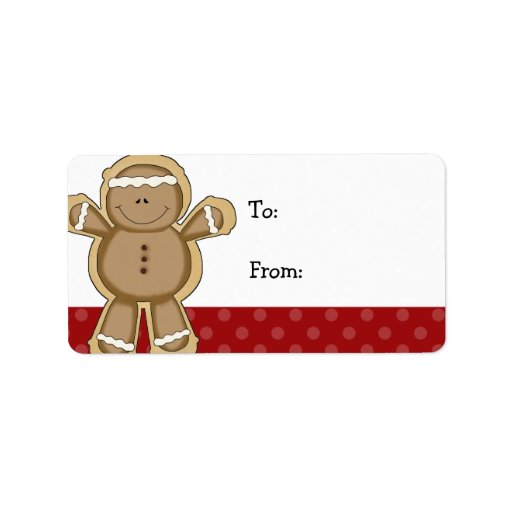 Gingerbread Man Red Polka Dot Christmas Gift Tags Label