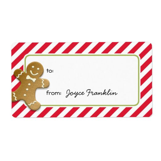 Gingerbread Red Stripes Custom To From Gift Tag Label