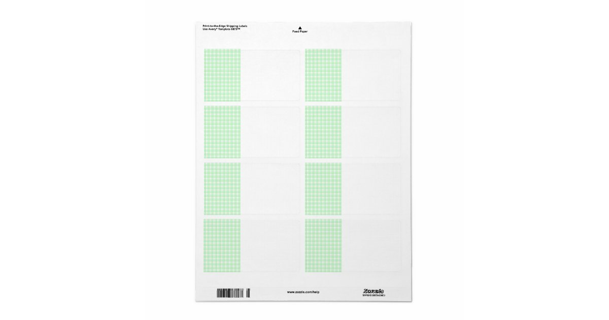 Gingham check pattern. Light Green and White. Label | Zazzle