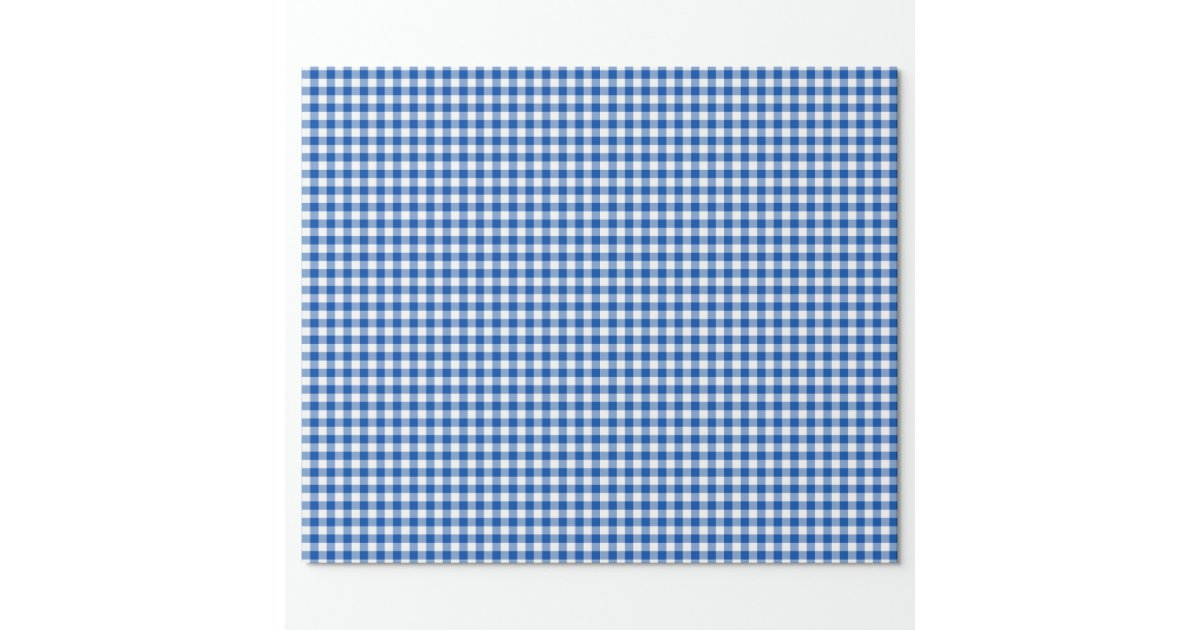 Gingham Cobalt Blue Wrapping Paper Zazzle