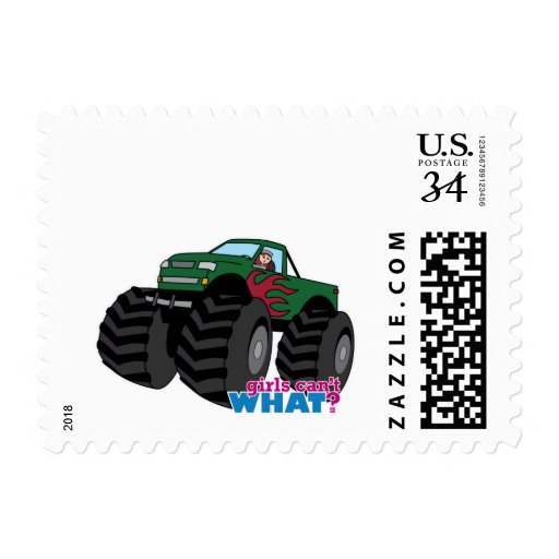 girl driving green monster truck stamp zazzle. Black Bedroom Furniture Sets. Home Design Ideas