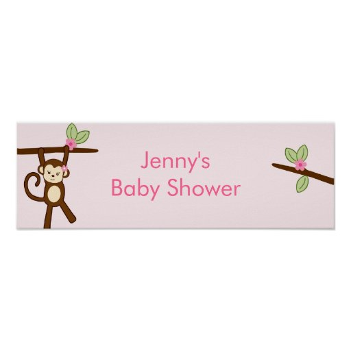 Baby Shower Custom Banners: Girl Monkey Jungle Personalized Baby Shower Banner Poster