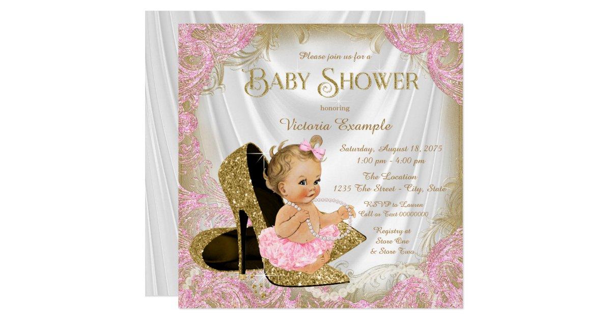 Girl Shoe Pink Gold Glitter Pearl Baby Shower Card Zazzle