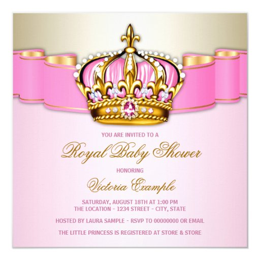 Girls Pink Gold Royal Baby Shower Invitation