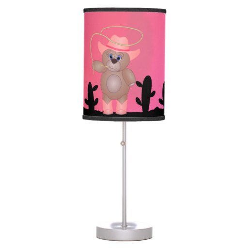 Girly Lamps For Bedroom: Girly Pink Cowgirl Teddy Bear Cartoon Mascot Desk Lamps