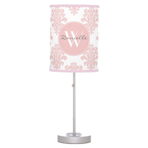 Girly Lamps For Bedroom: Girly Pink Damask Monogram Table Lamp