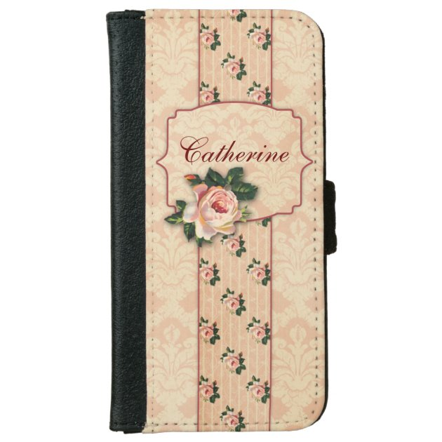 sports shoes 38f1c 4b9c7 Girly Pink Roses And Damask Personalized IPhone 6 Wallet Case