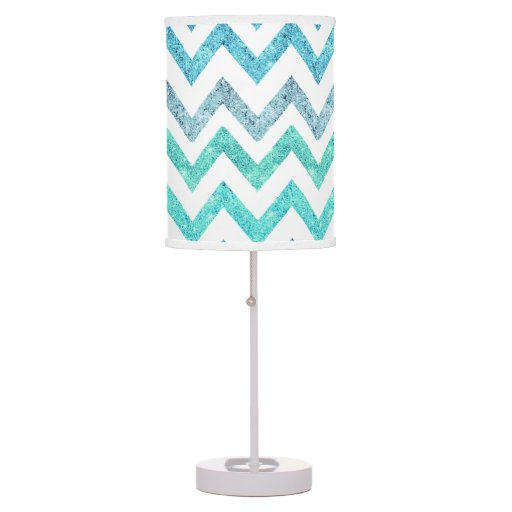 Girly Lamps For Bedroom: Girly Summer Sea Teal Turquoise Glitter Chevron Table Lamp