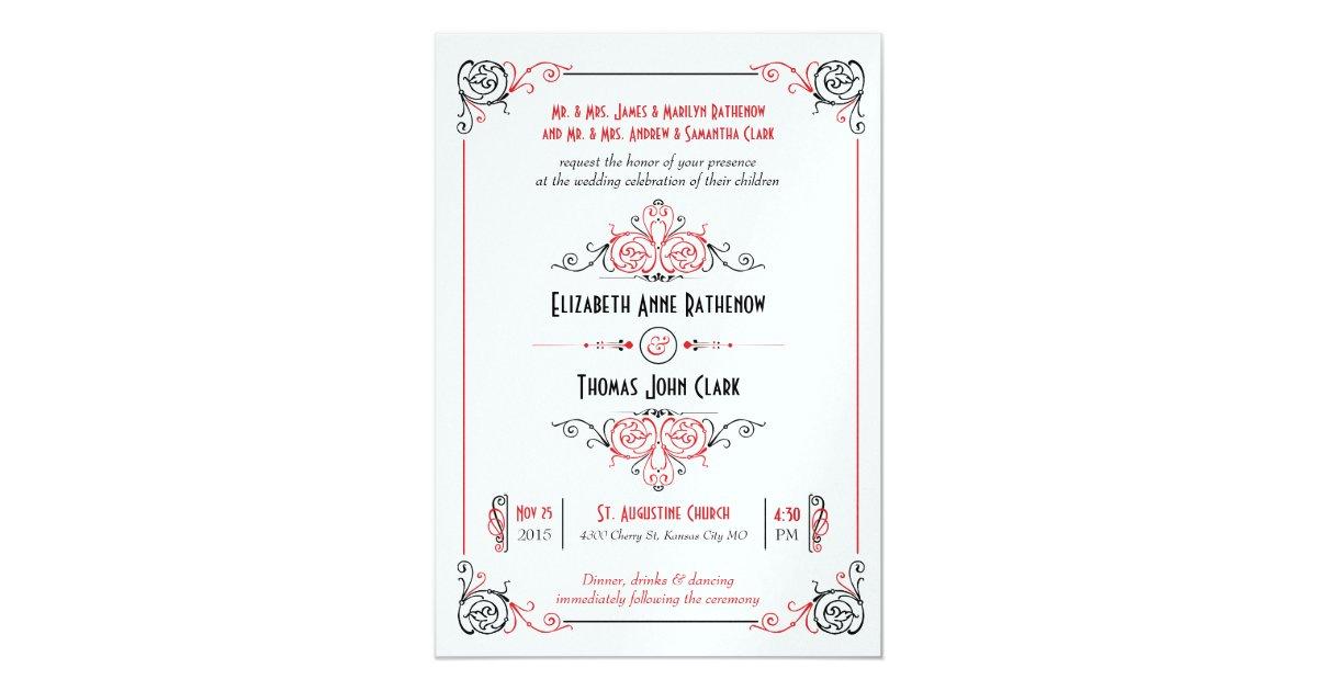 Target Wedding Invitations Kits: Glam Art Deco Red Metallic Wedding Invitations