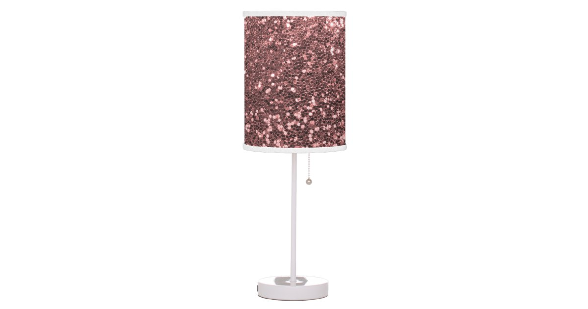 Glam Rose Gold Pink Faux Glitter Print Sparkles Desk Lamp
