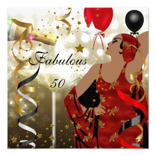 Fab 50 Birthday: Glamorous Lady Fabulous 50 Fifty Birthday Party Invites