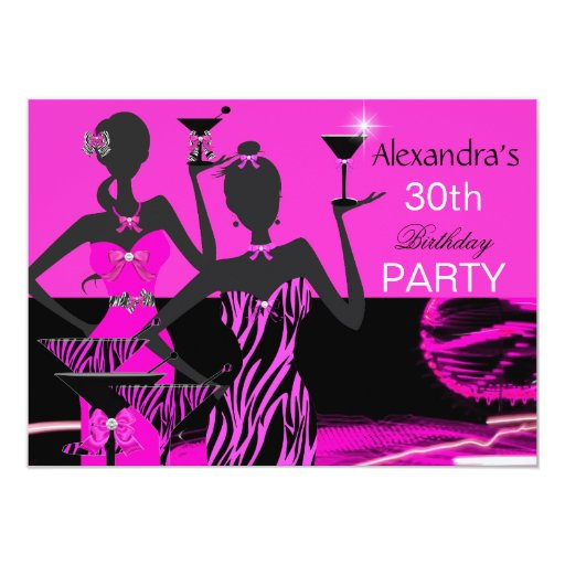 Pink Zebra Print Girls 1st Birthday Invitation: Glamorous Party Girl Pink Zebra Martini Birthday 4.5x6.25