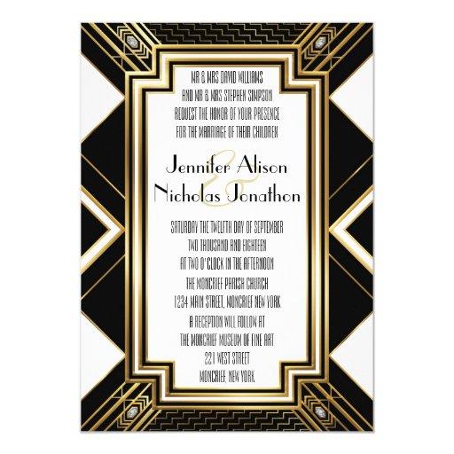 Art Deco Wedding Invitation: Glamourous Art Deco Geometric Wedding Invitation
