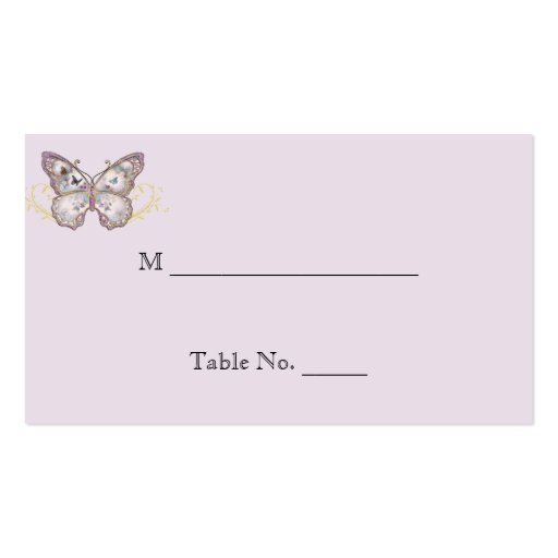 double sided place card template - glitter butterfly on lavender wedding place cards double