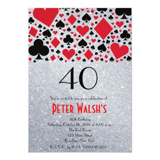 Glitter Casino Las Vegas 40th Birthday Invitation | Zazzle