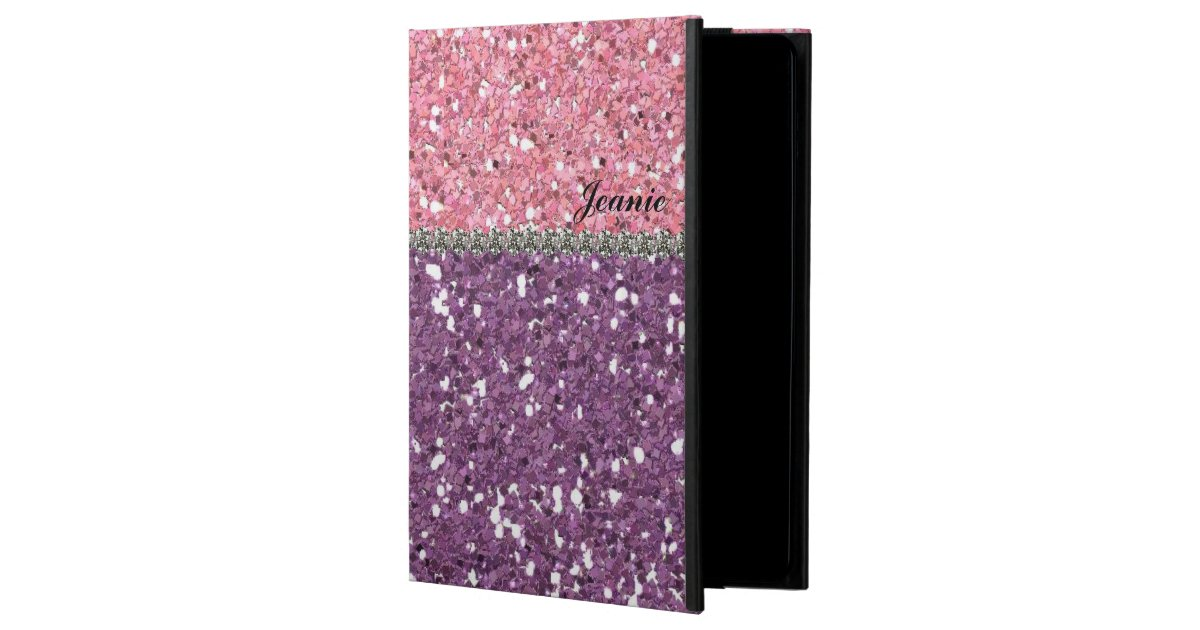 Glitter Look Pink Purple Rhinestones Personalized Ipad Air