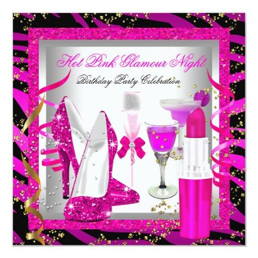 Glitter Pink Zebra Glamour Night Birthday Party Invitation
