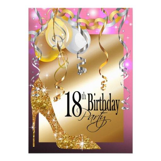 "Pink Happy 18th Birthday Balloon: Glitter Stiletto Balloons 18th Birthday Pink 5"" X 7"