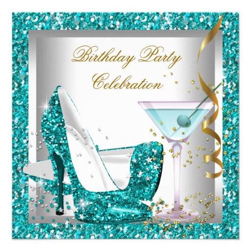 Glitter Teal Blue High Heel Shoes Gold Martini 5.25