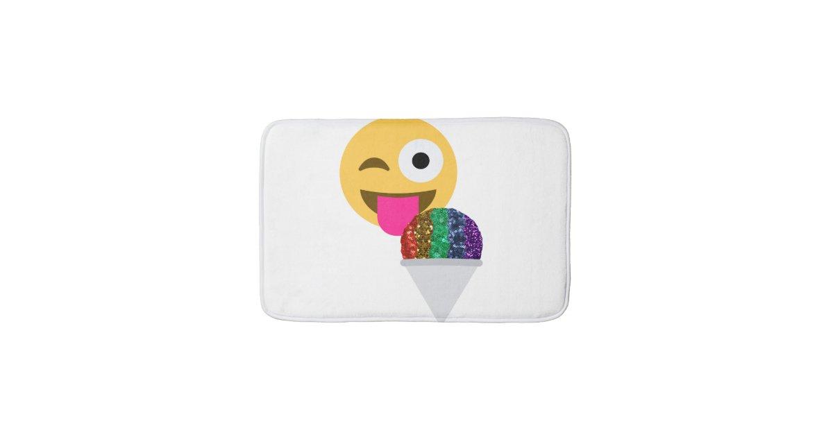Glitter Wink Emoji Bathroom Bathmat Bath Mat Zazzle