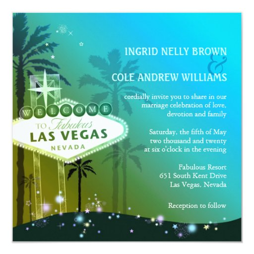 Las Vegas Wedding Invitation Wording: Glitz & Glam Las Vegas Wedding Invitations